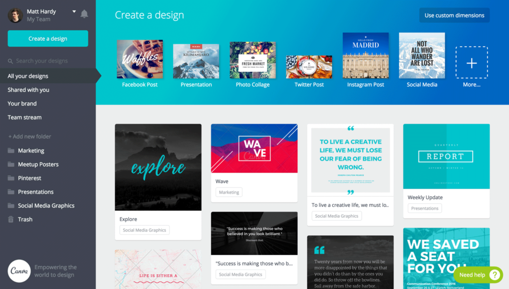 Canva app per content creator